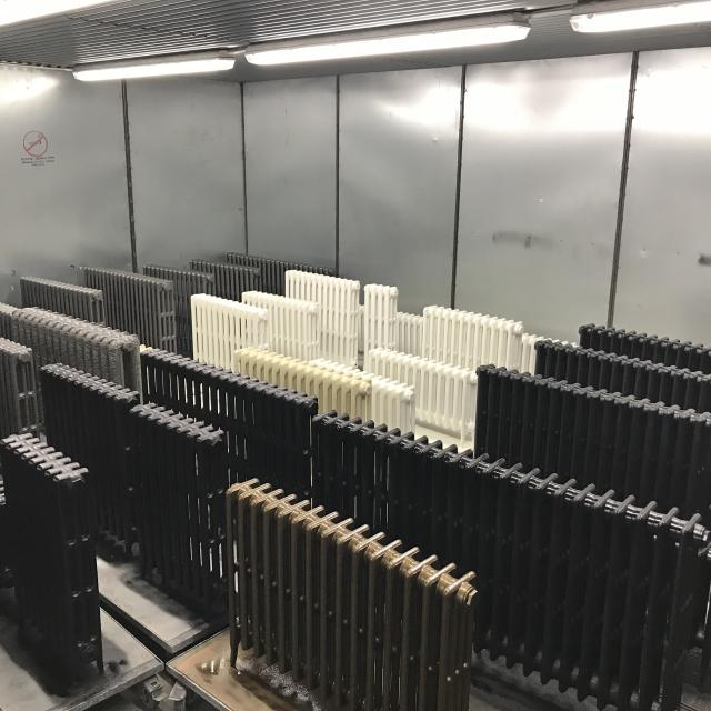 cast iron radiators in curing booth June 2018
